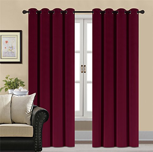 Burgundy Velvet Curtains - HCILY Blackout Velvet Curtains Red 84 Inch Thermal Insulated for Bedroom 2 Panels (W52'' x L84'', Burgundy)