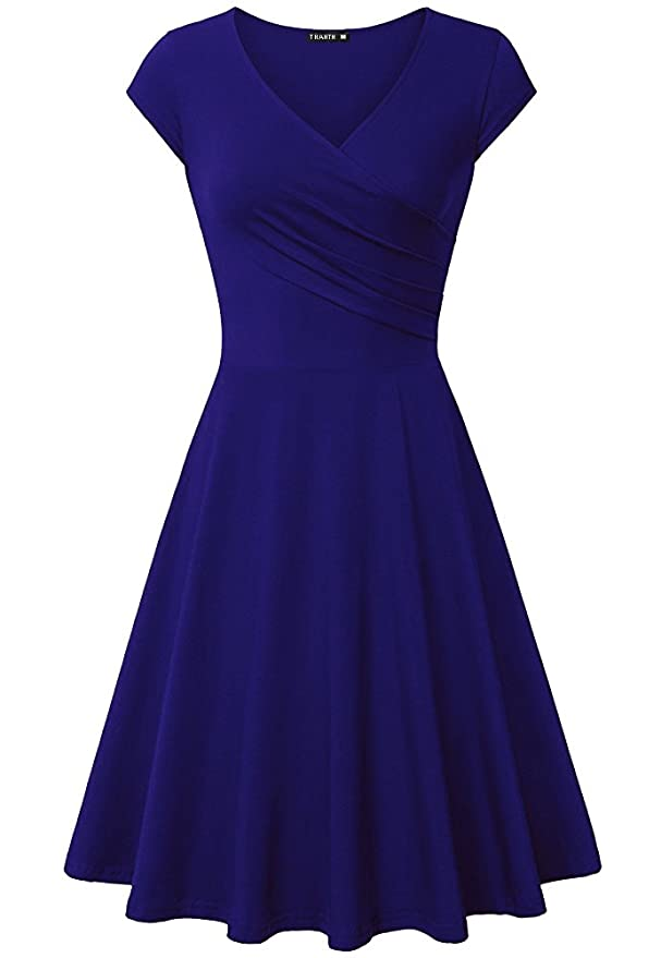 Women's Casual Cap Sleeve V Neck Fit and Flare A Line Cocktail Dress RoyalBlue M