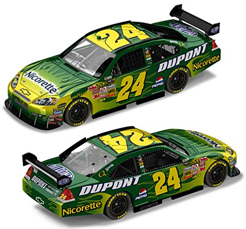 NASCAR 2008 Jeff Gordon #24 Green Dupont Flames Chevrolet Impala SS COT Action Collectables Hood Open Trunk Opens 1/24 ()