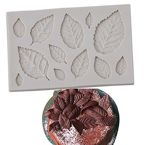 Molde de silicona en forma de hoja para tartas, fondant, galletas, chocolate, horno, herramienta de decoración, color...