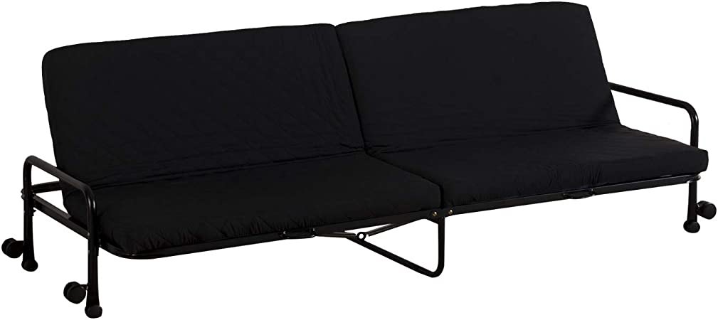 HOMCOM Sofa Bed Recliner Foldable Couch Sofabed 3 Seater Fabric wWheels Armrest Chair Guest Bed Black