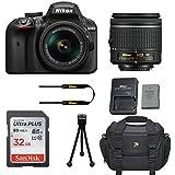 Nikon D3400 DSLR Camera with Nikon AF-P DX 18-55mm f/3.5-5.6G VR Lens + 32GB Memory Card + Camera Carrying Bag + Tripod (Certified Refurbished)