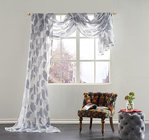 KEQIAOSUOCAI Beautiful Leaves Embroidery Window Sheer Voile Scarf,52