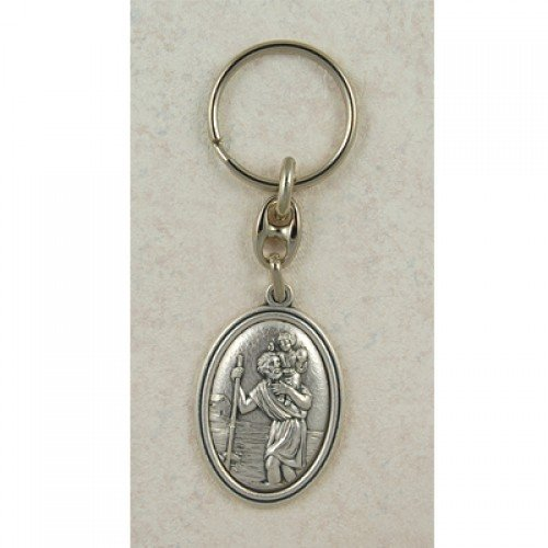 Saint Christopher Italian Silver OX Key Ring Chain, Excellent Craftsmanship and Made in The USA