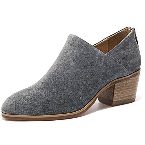 Odema Occidental Toe Mujeres Gris Back Tobillo Zipper Puntius Bootie Stacked Heel Suede ASfxvwqrA