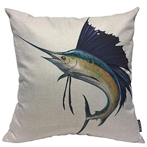 (Mugod Sailfish Decorative Pillow Case Marlin Blue Fish Jumping Leaping Nature Ocean Wildlife Throw Pillow Cover Home Decor Cotton Linen Square Cushion Cover for Couch Bed Sofa 20X20 Inch)
