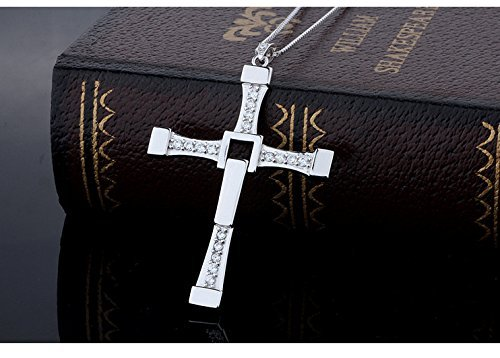 Silver Charm Man - Jewelry Necklace -Long Way (TM) 925 Sterling Silver Fast & Furious 7 Rotatable Crystal Toretto's Cross Chain Necklace for Men Birthday Gifts