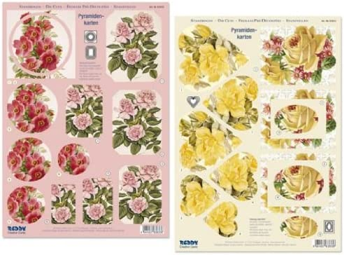 Ecstasy Crafts 3D Pre Cut Sheet Pink And Red Roses