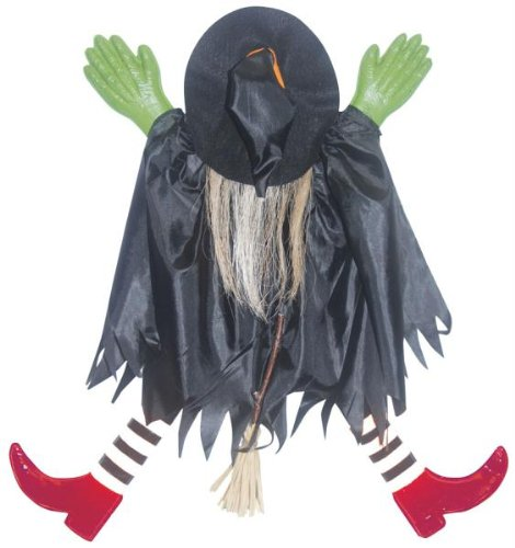 Sunstar Industries Tree Trunk Witch W/Red (Flying Witch Decoration)