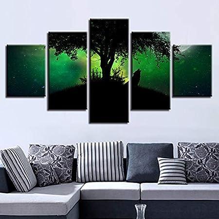 YuanMinglu Decoración de póster de Lienzo Sala de Estar Modular 5 Piezas Animal Lobo Aurora Bosque Paisaje Nocturno impresión HD Pintura sin Marco 30x50cmx2 30x70cmx2 30x80cmx1