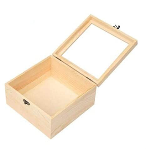 Fdit Caja Madera de Anillo Almacenamiento Caja de Joyas Caja de Almacenamiento con Tapa Cristal para