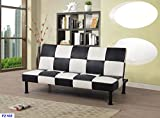 Star Home Furniture F2103 FUTONDP2103 Futon Convertible Sofa, Black and White Stripe