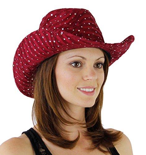 Glitter Sequin Trim Cowboy Hat Wine One Size