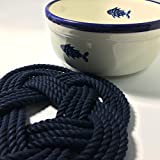 Nautical Sailor Knot Cotton Rope Trivet Navy Blue