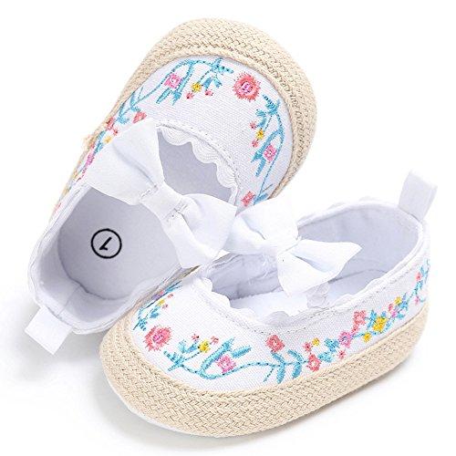 Pueri Zapatos del bebé Zapatos de las niñas de la primavera y el verano Para los primeros pasos Zapaticos agradables Blanco