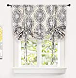 Adrianne Tie Up Curtain Damask Floral Pattern Thermal Insulated Blackout Window Adjustable Balloon Curtain Shade for Small Window Rod Pocket Single 45 Inch by 63 Inch Beige and Gray