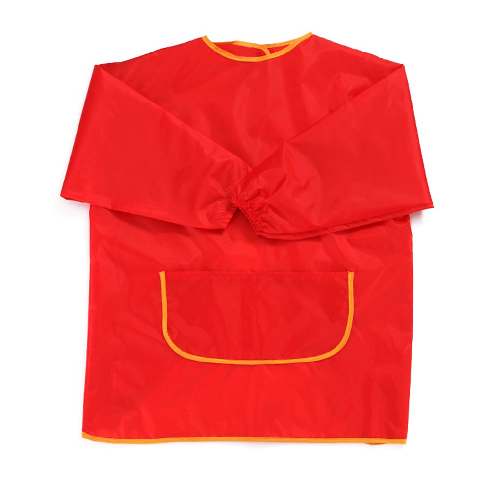 Profusion Circle Children Kids Waterproof Apron Bibs Long Sleeve with Pocket for Eating Painting Sport