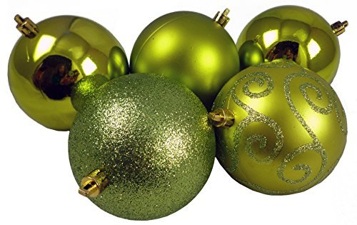 Pack of 5 Extra Large 100mm Lime Green Decorated Christmas Baubles (BA1005LG)