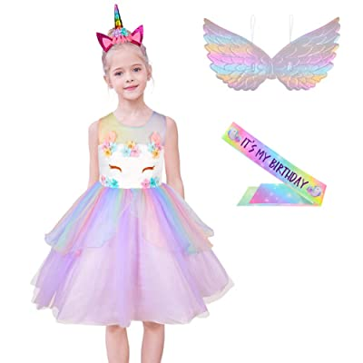 MHJY Girls Unicorn Dress Costume Festival Pageant Princess Party Rainbow Flower Dress with Headband: Clothing