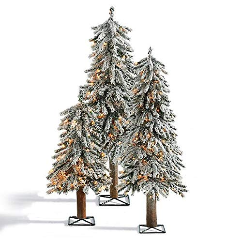 Flocked Alpine Tree - Set of 3 Snowy Flocking Rustic Pre Lit Alpine Trees Artificial Christmas Trees Holiday Decoration