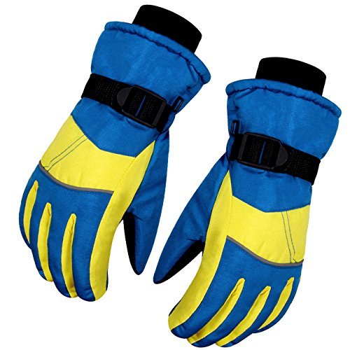 Kids Children Winter Warm Gloves WITERY Outdoor Sports Full-fingers Winter Thick Thermal Windproof Cold proof Skiing Cycling Running Waterproof Mitt Gloves for Unisex Kids Children