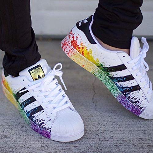 san francisco 10000 ef2d9 Adidas Originals Superstar Rainbow Paint Splatter White Black Fashion Shoes   Amazon.ae