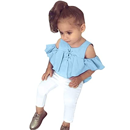 Baby Girls Long Ruffled Sleeve Tops+Solid Pants Autumn Winter 2Pcs Outfits Set