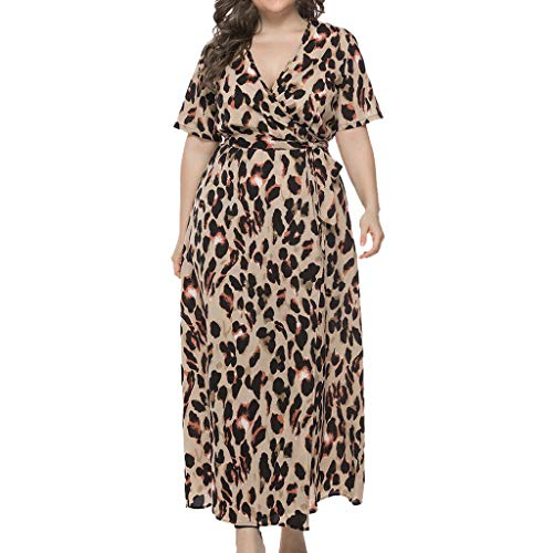 Pongfunsy 2019 New Dresses Women Fashion V-Neck Plus Size Leopard Print Dress Ladies Casual Short Sleeve Long Dress (XXXL, Yellow) - New Gorgeous Formal Dress