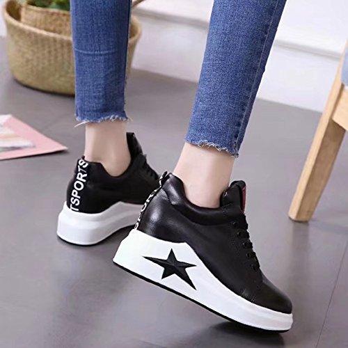 Btrada Womens Sneakers Sneakers Heeled-hdden Lace Up Scarpe Con Fondo Spesso Casual Scarpe Da Ginnastica Fitness Sportivo Nero