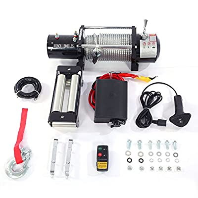 12000 lb. Off-Road Vehicle Electric Winch with Automatic Load-Holding Brake & Remote Control