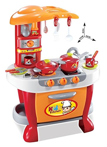 Sunshine Big Size Kitchen Set Toy with Music and Lights, Playing Accessories, Orange – B