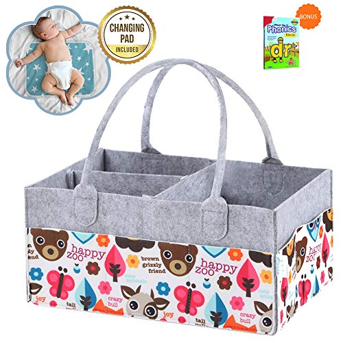 Diaper Caddy Organizer - Large Felt Portable Storage Bag & Tote Basket For Baby Bath Table,Nursery Needs & Car Travel.Must Haves Diapering Organizers/Holder & Gift For Newborn Shower.FREE Changing Pad