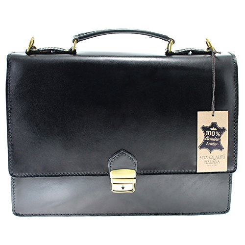 Chicca Borse Man's Business Bag Briefcase Genuine - Nero Footwear Leather