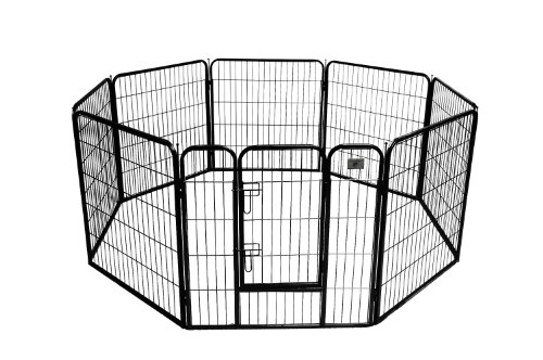 BestPet Heavy Duty Pet Playpen Dog Exercise Pen Cat Fence B, 32-Inch, Black -