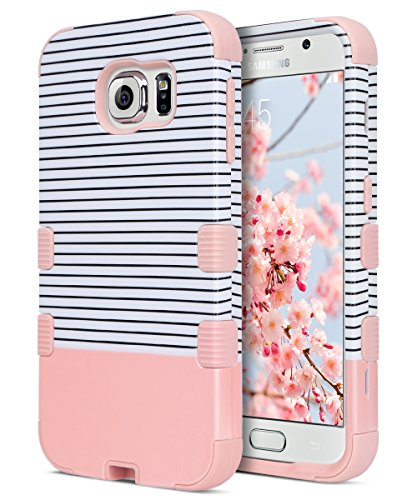 Galaxy S6 Case, S6 Case, ULAK Shock Resistant Hybrid Soft Silicone Hard PC Cover Case for Samsung Galaxy S6, Will NOT Fit S6 Active-Minimal Rose Gold