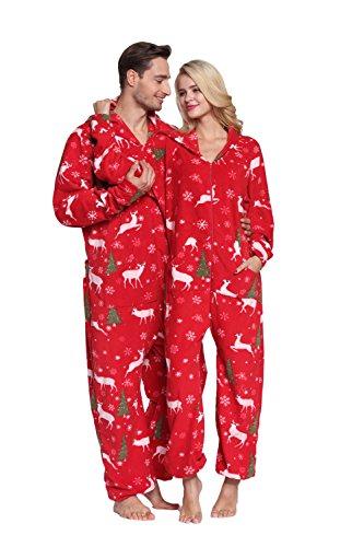 XMASCOMING Women's & Men's Hooded Fleece Onesie Pajamas Merry Christmas Size US XL