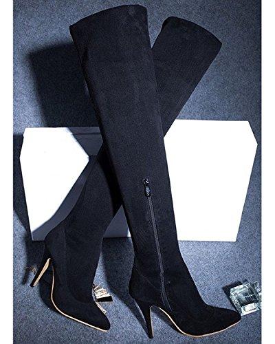 Maybest Dames Dij Hoge Laarzen Over De Knie Party Stretch Hoge Hak Laarzen Winter Warme Schoenen Zwart