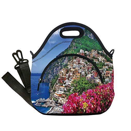 Insulated Lunch Bag,Neoprene Lunch Tote Bags,Italy,Scenic View of Positano Amalfi Naples Blooming Flowers Coastal Village Image,Pink Green Blue,for Adults and children