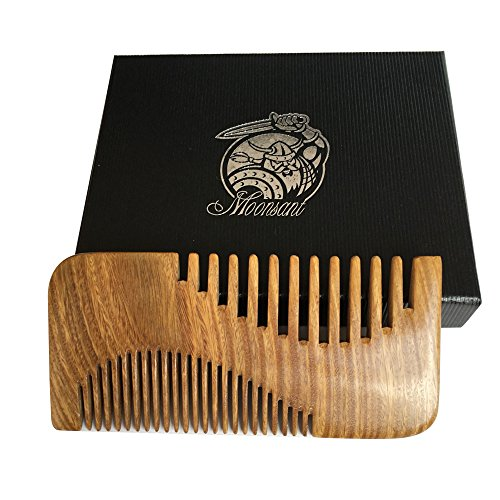 Beard Comb-Green Sandal Wood Comb-Cool Pocket Comb for Men's Hair Beard Mustache and Sideburns - Perfect for Balm and Oils (Ox Horn Beard Comb)