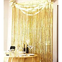 3ft x 8ft Tinsel Metallic Gold Foil Fringe Curtains Backdrop Door Window Curtain Party Decoration (Gold)