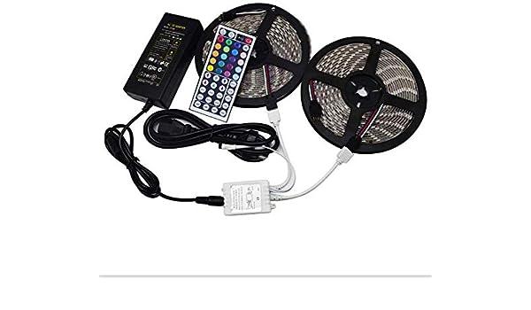 Dmygo SMD 5050 Tira de luz LED RGB 32.8ft 10M 600 LED IP65 Resistente al Agua con 10A Fuente de alimentación 44 Clave de Control Remoto for la Cocina de Navidad decoración
