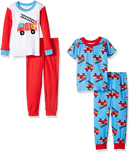 Gerber Boys' Baby and 4 Piece Cotton Pajama Set, Fire Truck, 18 Months by Gerber