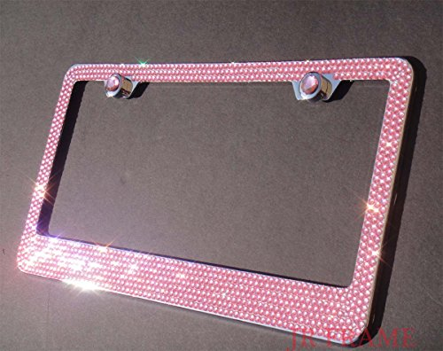 JR2 Bling 7 Rows Pink(D- Screw Cap Type)Crystal Rhinestone-Metal Chrome License Plate Frame with Two Caps