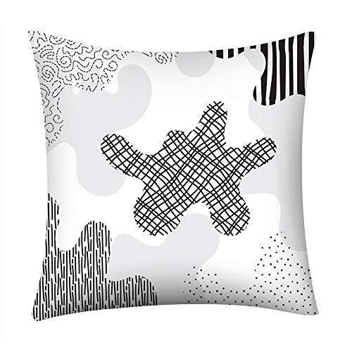 TiTCool Black and White Throw Pillow Cover Modern Geometric Cushion Case Home Decor for Couch Sofa (18''×18'', E)