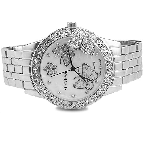 2013newestseller Luxury Womens Classic Round Silver Tone Stainless Steel Butterfly Quartz Wrist Watches