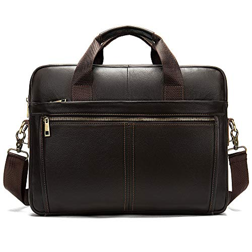 BAIGIO Men's Genuine Leather Executive Laptop Briefcase 14 Inch Laptop Attache Cases Business Messenger Bag Casual Shoulder Portfolio Bag (Dark Brown)