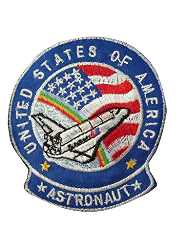(2 pieces ASTRONAUT Iron On Patch Embroidered Motif Applique NASA USA Space Mission Aeronautical Decal 3.2 x 2.9 inches (8 x 7.3 cm))