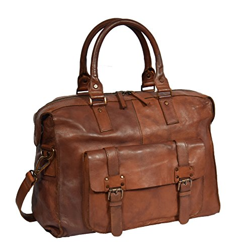 Real Leather Weekend Holdall Rust Brown Vintage Travel Cabin Overnight Bag Bali by A1 FASHION GOODS