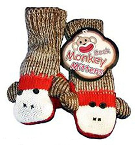 Sock Monkey Mittens Youth / Adult Fits (Sock Monkey Costume For Adults)