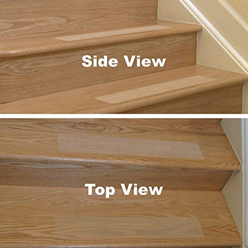 f5300e4a8d3 Clear Anti-Slip Stair Step Treads - 24x4 inch Self-Adhesive Grit Tape with  Pressure Roller (10 Count) - - Amazon.com